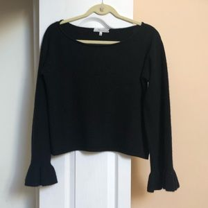Milly 100% cashmere black low scoop sweater